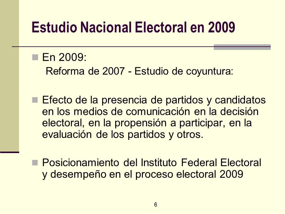 6 Estudio Nacional Electoral en 2009 En 2009: Reforma de 2007 - Estudio de coyuntura: Efecto de la presencia de partidos y candidatos en los medios de comunicación en la decisión electoral, en la propensión a participar, en la evaluación de los partidos y otros.