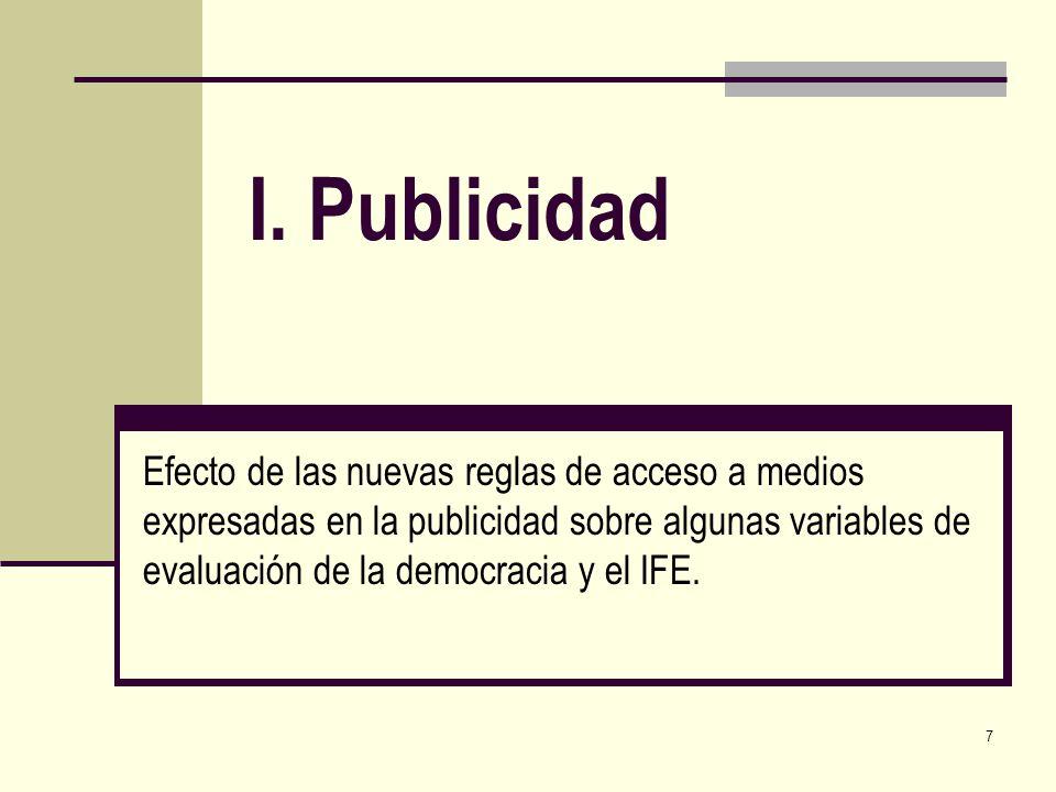 7 I. Publicidad Efecto de las nuevas reglas de acceso a medios expresadas en la publicidad sobre algunas variables de evaluación de la democracia y el