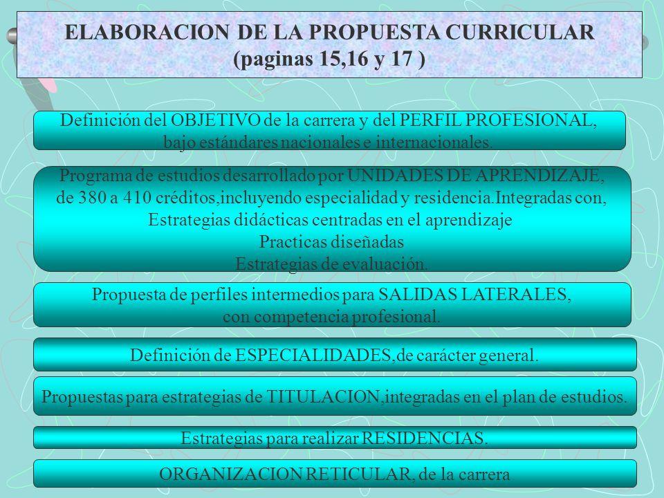 ELABORACION DE LA PROPUESTA CURRICULAR (paginas 15,16 y 17 ) Definición del OBJETIVO de la carrera y del PERFIL PROFESIONAL, bajo estándares nacionale