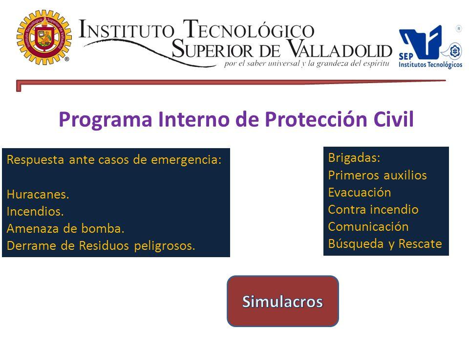 Programa Interno de Protección Civil Respuesta ante casos de emergencia: Huracanes.