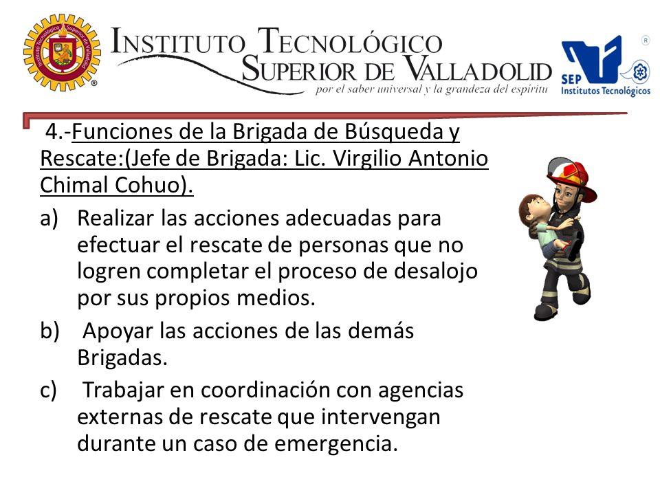 4.-Funciones de la Brigada de Búsqueda y Rescate:(Jefe de Brigada: Lic.