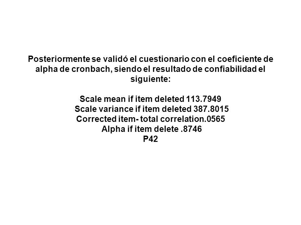Posteriormente se validó el cuestionario con el coeficiente de alpha de cronbach, siendo el resultado de confiabilidad el siguiente: Scale mean if ite