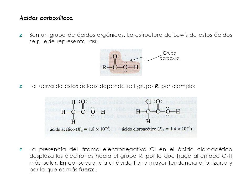 Ácidos carboxílicos. zSon un grupo de ácidos orgánicos. La estructura de Lewis de estos ácidos se puede representar así: Grupo carboxilo zLa fuerza de