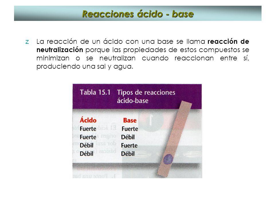 Reacciones ácido - base zLa reacción de un ácido con una base se llama reacción de neutralización porque las propiedades de estos compuestos se minimi