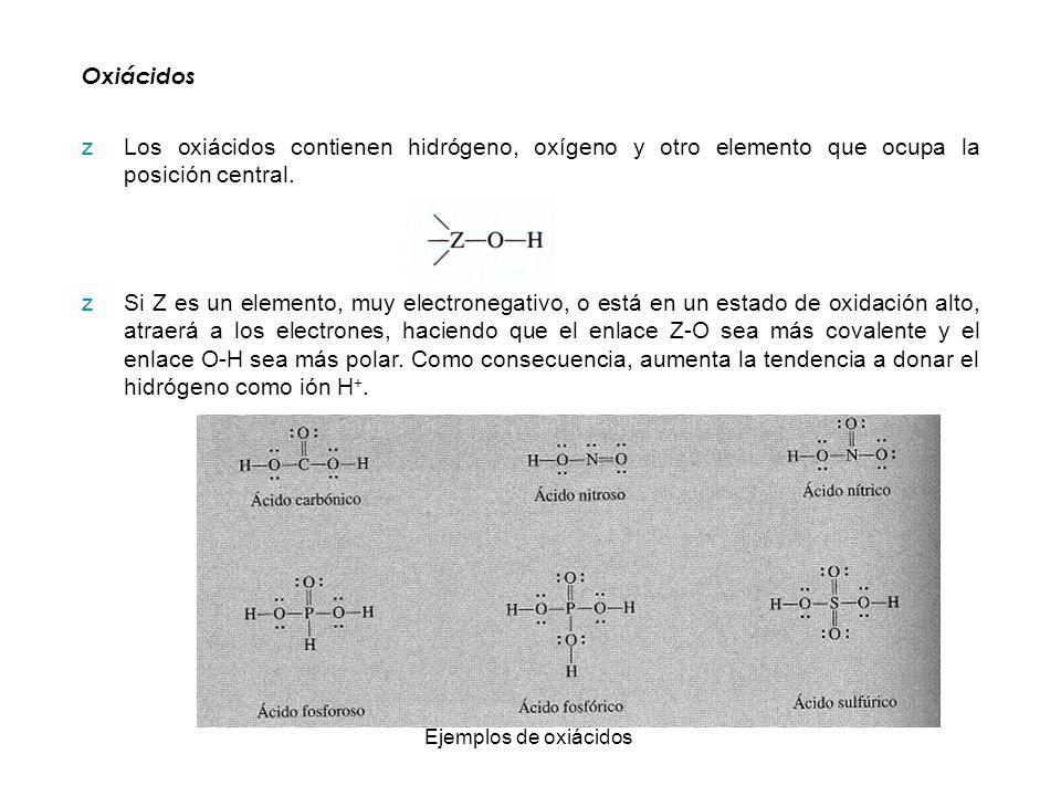 Oxiácidos zLos oxiácidos contienen hidrógeno, oxígeno y otro elemento que ocupa la posición central. zSi Z es un elemento, muy electronegativo, o está