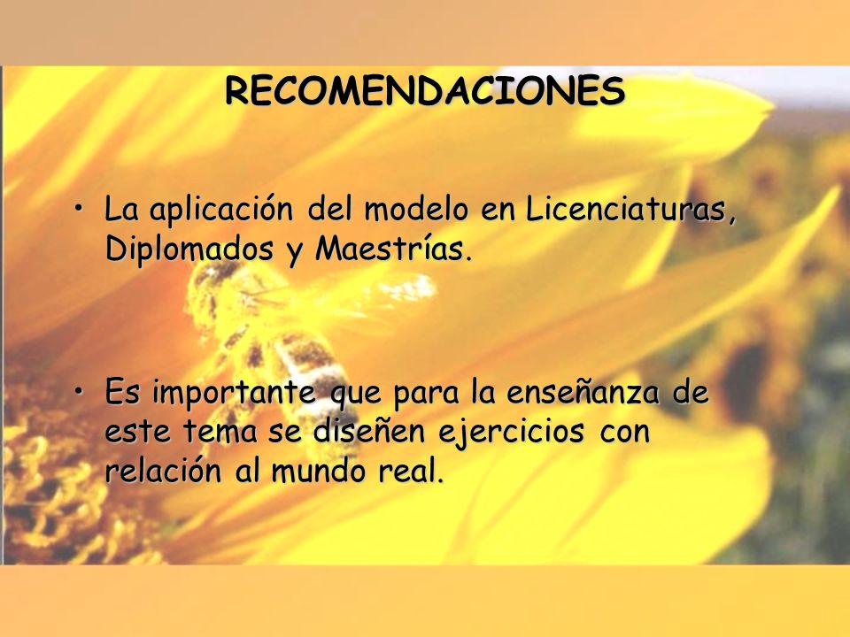 RECOMENDACIONES La aplicación del modelo en Licenciaturas, Diplomados y Maestrías.La aplicación del modelo en Licenciaturas, Diplomados y Maestrías. E