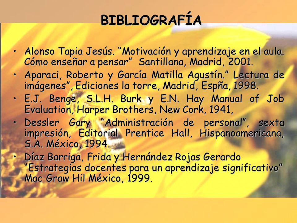 BIBLIOGRAFÍA Alonso Tapia Jesús. Motivación y aprendizaje en el aula. Cómo enseñar a pensar Santillana, Madrid, 2001.Alonso Tapia Jesús. Motivación y