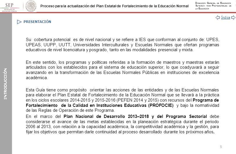 Índice Proceso para la actualización del Plan Estatal de Fortalecimiento de la Educación Normal D IRECCIÓN G ENERAL DE E DUCACIÓN S UPERIOR PARA P ROFESIONALES DE LA E DUCACIÓN ANEXOS Anexo I: Acciones Genéricas para el Desarrollo del PEFEN (Continuación) INFORMACIÓN COMPLEMENTARIA EVALUACIÓN INTERNA Y EVALUACIÓN EXTERNA SES / DGESPE / SEE / ESCUELA NORMAL Retroalimentan el desarrollo del PEFEN Toman decisiones para mejorarlos SEP / SES / DGESPE Designan la institución que realizará la evaluación externa del PEFEN Definen los indicadores y el marco de términos de referencia con las instancias responsables SEE / ESCUELA NORMAL Autoevalúan los procesos y resultados de los proyectos Regresar 146