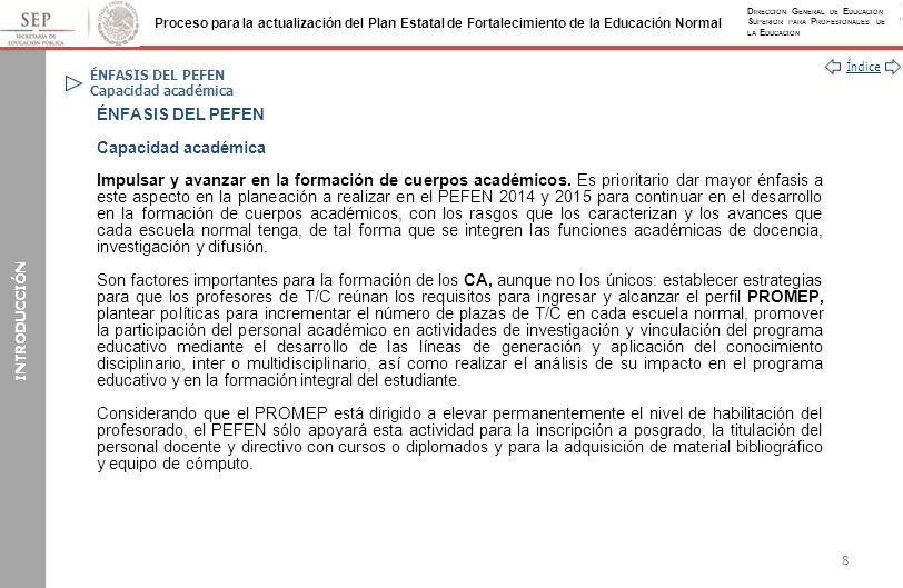 Índice Proceso para la actualización del Plan Estatal de Fortalecimiento de la Educación Normal D IRECCIÓN G ENERAL DE E DUCACIÓN S UPERIOR PARA P ROFESIONALES DE LA E DUCACIÓN ANEXOS Anexo IV: Cuerpos académicos (Continuación) E.