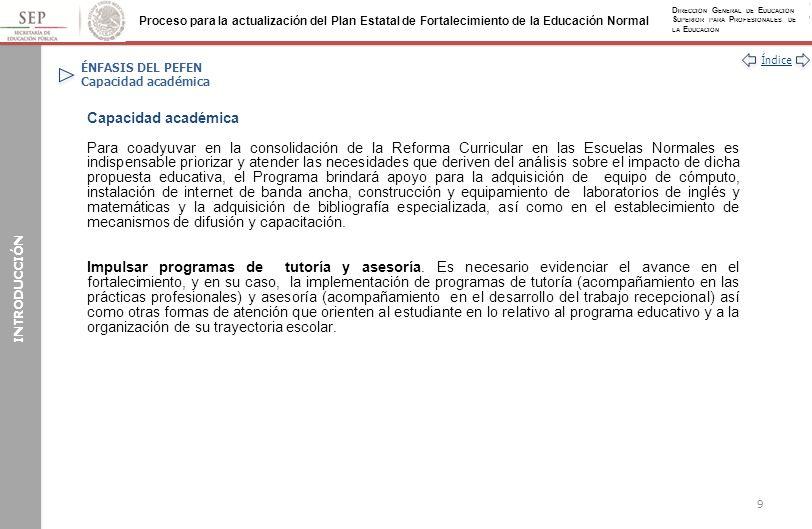 Índice Proceso para la actualización del Plan Estatal de Fortalecimiento de la Educación Normal D IRECCIÓN G ENERAL DE E DUCACIÓN S UPERIOR PARA P ROFESIONALES DE LA E DUCACIÓN AUTOEVALUACIÓN Análisis de la evaluación global del PEFEN 2013 (Continuación) 1.11.21.31.41.51.61.71.81.91.101.112.13.13.23.33.43.53.63.73.83.93.104.15.15.25.35.45.55.65.75.85.95.106.17.17.27.3 2222223343343333333333444344443333433 PEFEN Ejemplo: Tomando como base una Entidad N, obtiene 115 puntos, de un puntaje absoluto de 148.