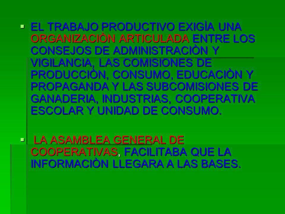 EL TRABAJO PRODUCTIVO EXIGÌA UNA ORGANIZACIÒN ARTICULADA ENTRE LOS CONSEJOS DE ADMINISTRACIÒN Y VIGILANCIA, LAS COMISIONES DE PRODUCCIÒN, CONSUMO, EDU