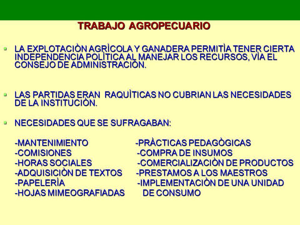 TRABAJO AGROPECUARIO TRABAJO AGROPECUARIO LA EXPLOTACIÒN AGRÌCOLA Y GANADERA PERMITÌA TENER CIERTA INDEPENDENCIA POLÌTICA AL MANEJAR LOS RECURSOS, VÌA