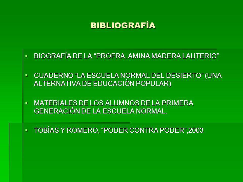BIBLIOGRAFÌA BIBLIOGRAFÌA BIOGRAFÌA DE LA PROFRA. AMINA MADERA LAUTERIO BIOGRAFÌA DE LA PROFRA. AMINA MADERA LAUTERIO CUADERNO LA ESCUELA NORMAL DEL D