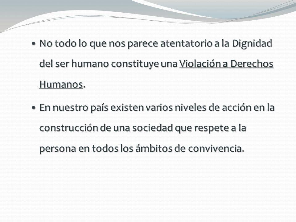 Actitudes Violatorias a los Derechos Humanos conductas atentatorias a la dignidad humana Son posturas que se dan entre particulares, conductas atentatorias a la dignidad humana, así como ciertos antivalores.
