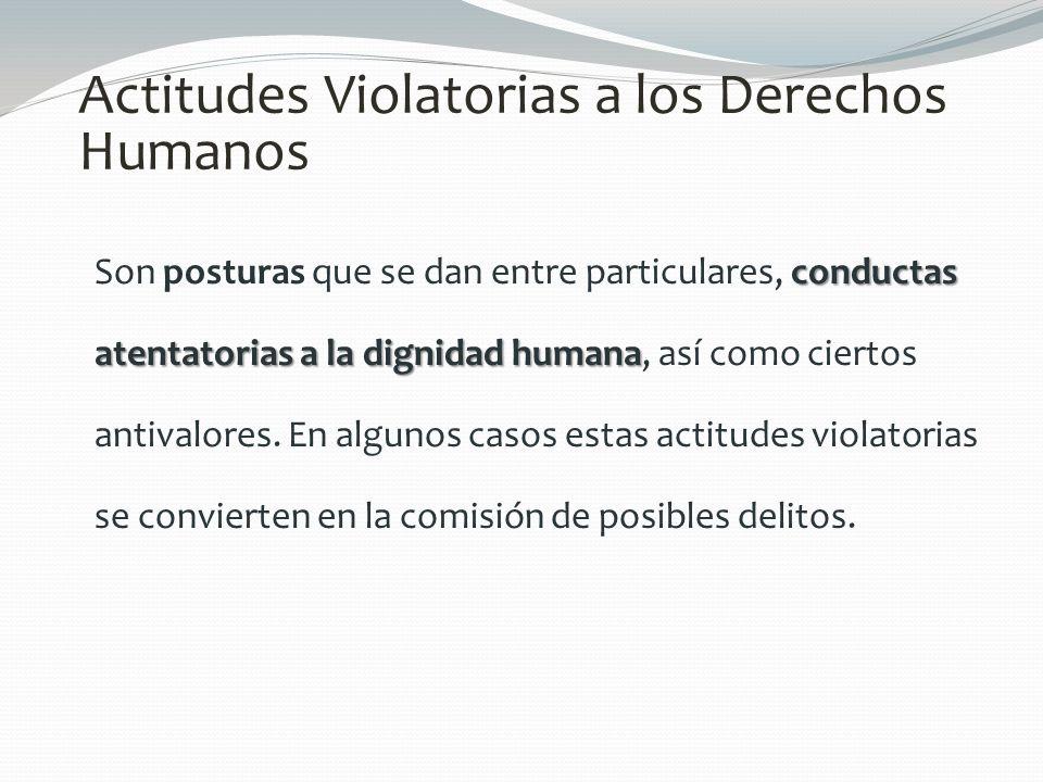 Actitudes Violatorias a los Derechos Humanos conductas atentatorias a la dignidad humana Son posturas que se dan entre particulares, conductas atentat