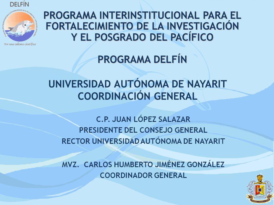 PROGRAMA INTERINSTITUCIONAL PARA EL FORTALECIMIENTO DE LA INVESTIGACIÓN Y EL POSGRADO DEL PACÍFICO PROGRAMA DELFÍN UNIVERSIDAD AUTÓNOMA DE NAYARIT COO