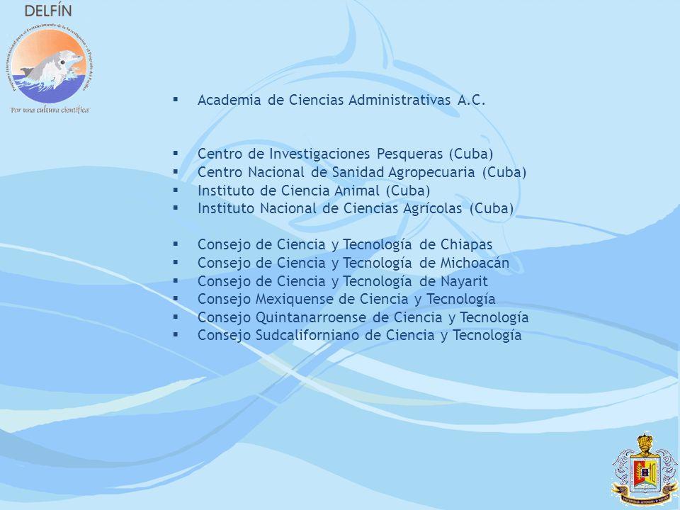 Academia de Ciencias Administrativas A.C. Centro de Investigaciones Pesqueras (Cuba) Centro Nacional de Sanidad Agropecuaria (Cuba) Instituto de Cienc