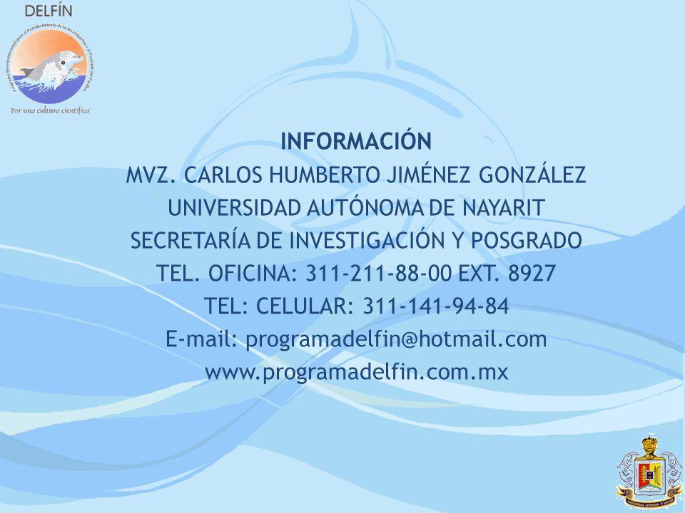 INFORMACIÓN MVZ. CARLOS HUMBERTO JIMÉNEZ GONZÁLEZ UNIVERSIDAD AUTÓNOMA DE NAYARIT SECRETARÍA DE INVESTIGACIÓN Y POSGRADO TEL. OFICINA: 311-211-88-00 E
