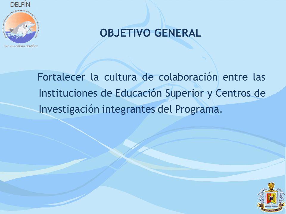 Fortalecer la cultura de colaboración entre las Instituciones de Educación Superior y Centros de Investigación integrantes del Programa. OBJETIVO GENE