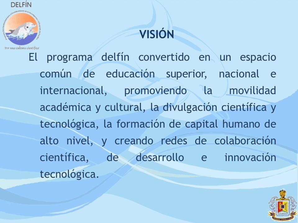 El programa delfín convertido en un espacio común de educación superior, nacional e internacional, promoviendo la movilidad académica y cultural, la d