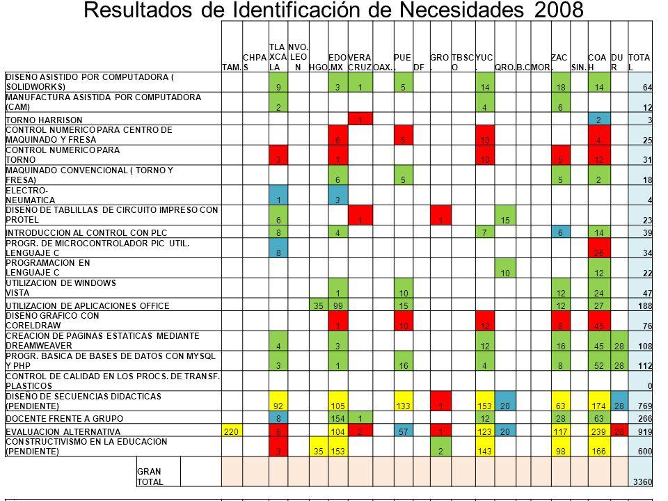 Resultados de Identificación de Necesidades 2008 TAM.