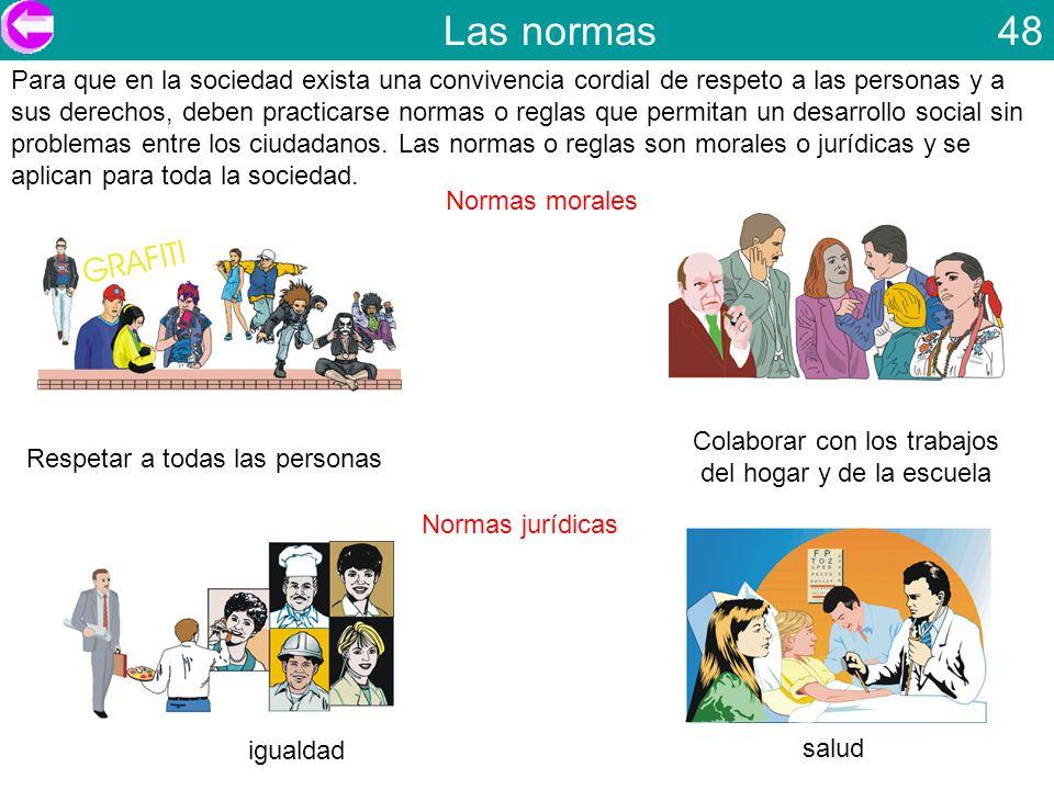 Las normas 48 Para que en la sociedad exista una convivencia cordial de respeto a las personas y a sus derechos, deben practicarse normas o reglas que