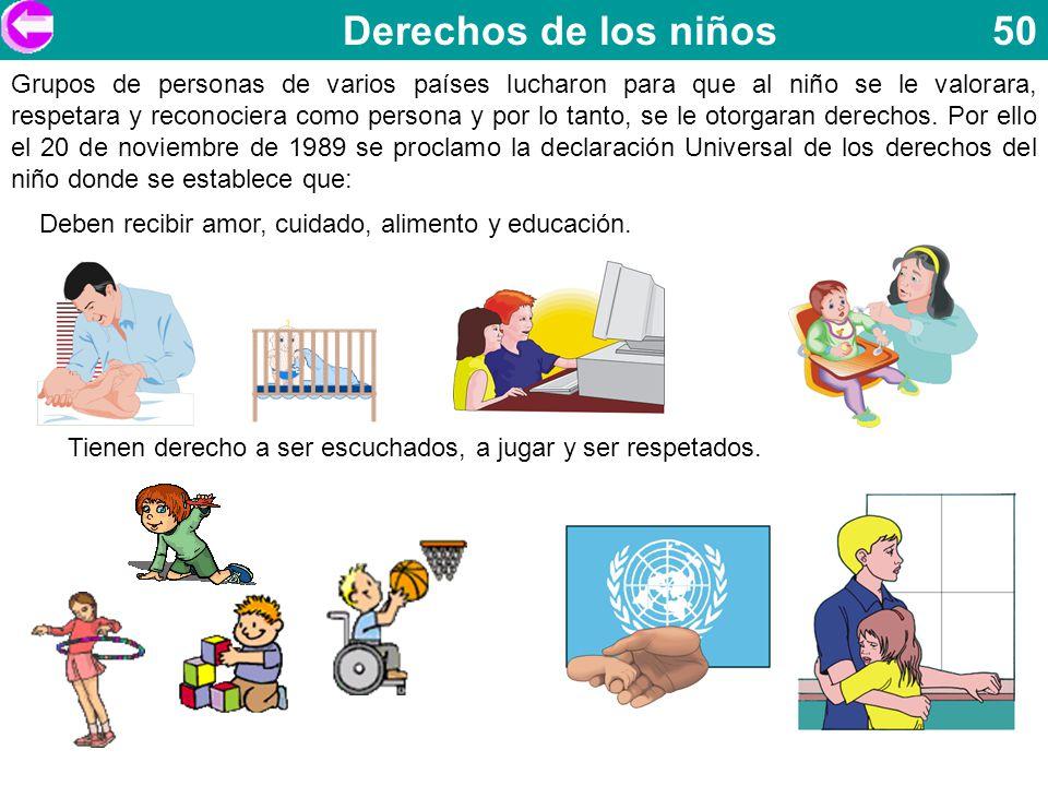 Derechos de los niños 50 Grupos de personas de varios países lucharon para que al niño se le valorara, respetara y reconociera como persona y por lo t
