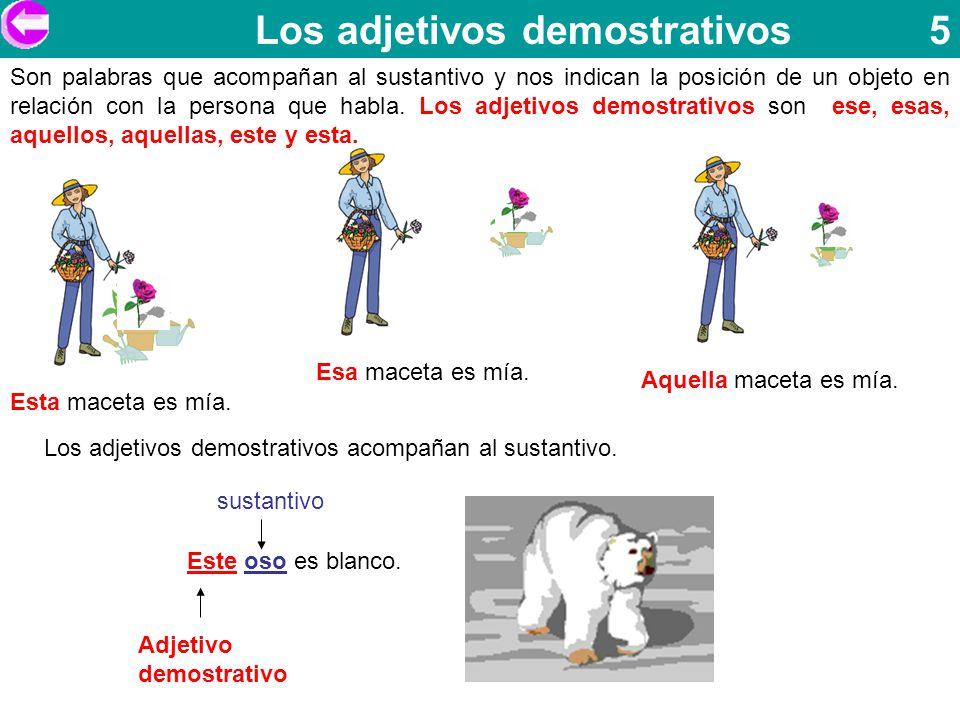 Los adjetivos demostrativos 5 Son palabras que acompañan al sustantivo y nos indican la posición de un objeto en relación con la persona que habla. Lo
