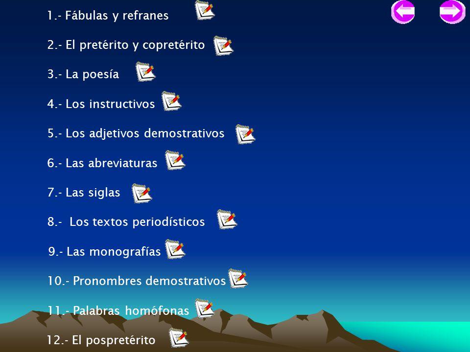 1.- Fábulas y refranes 2.- El pretérito y copretérito 3.- La poesía 4.- Los instructivos 5.- Los adjetivos demostrativos 6.- Las abreviaturas 7.- Las