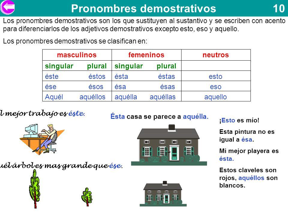 Pronombres demostrativos 10 Los pronombres demostrativos son los que sustituyen al sustantivo y se escriben con acento para diferenciarlos de los adje