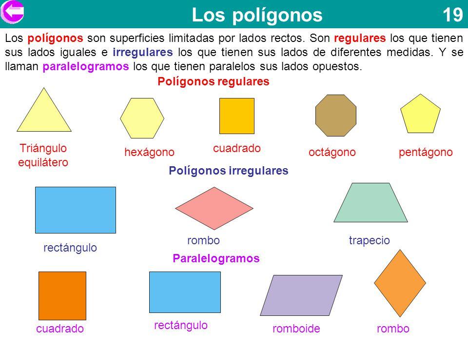 Los polígonos 19 Los polígonos son superficies limitadas por lados rectos. Son regulares los que tienen sus lados iguales e irregulares los que tienen