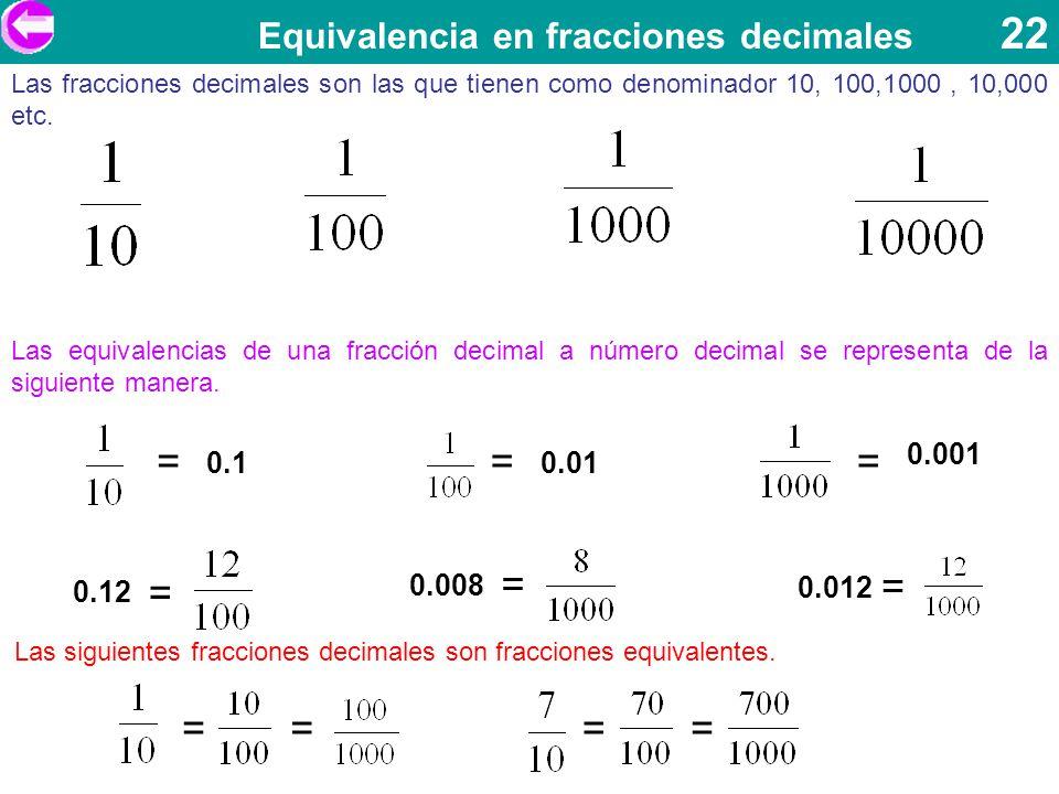 Equivalencia en fracciones decimales 22 Las fracciones decimales son las que tienen como denominador 10, 100,1000, 10,000 etc. Las equivalencias de un
