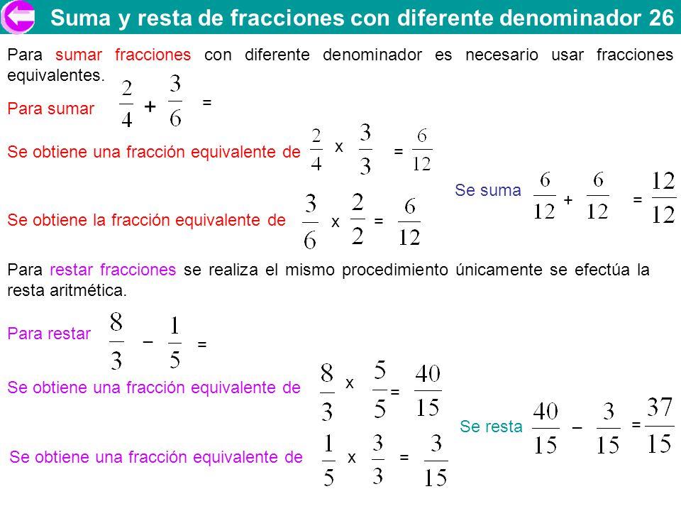 Suma y resta de fracciones con diferente denominador 26 Para sumar fracciones con diferente denominador es necesario usar fracciones equivalentes. Par
