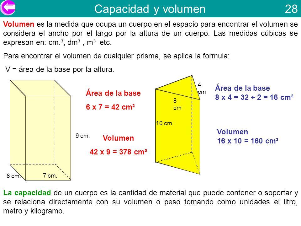 Capacidad y volumen 28 Volumen es la medida que ocupa un cuerpo en el espacio para encontrar el volumen se considera el ancho por el largo por la altu