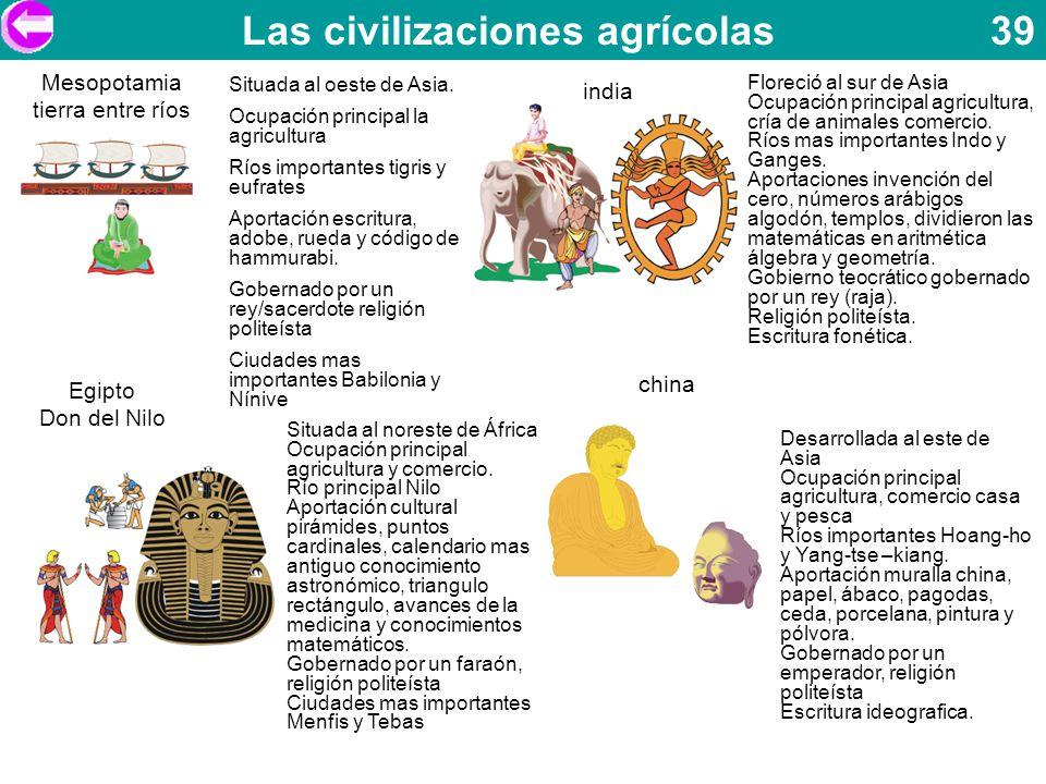 Las civilizaciones agrícolas 39 Situada al oeste de Asia. Ocupación principal la agricultura Ríos importantes tigris y eufrates Aportación escritura,