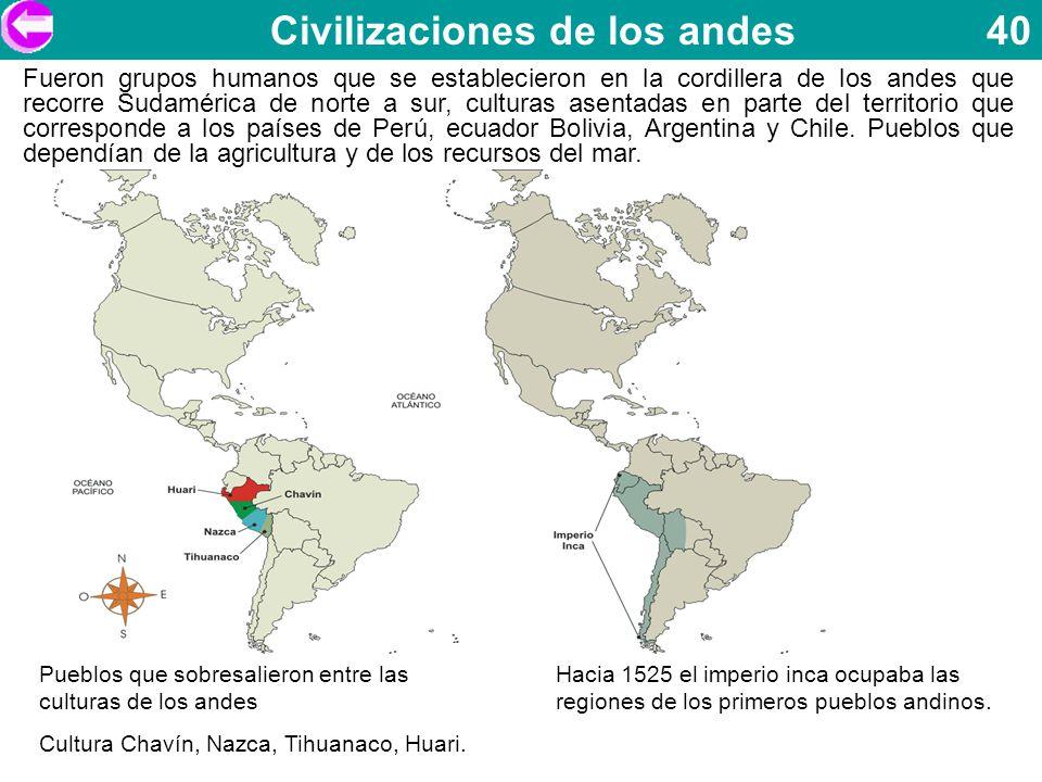 Civilizaciones de los andes 40 Fueron grupos humanos que se establecieron en la cordillera de los andes que recorre Sudamérica de norte a sur, cultura