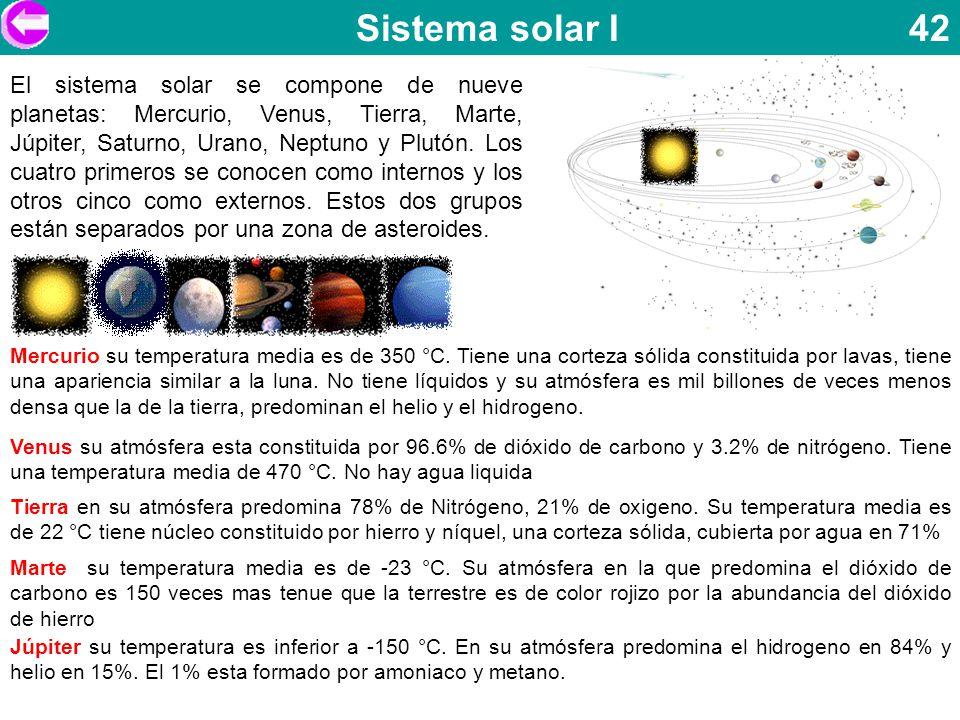 Sistema solar I 42 El sistema solar se compone de nueve planetas: Mercurio, Venus, Tierra, Marte, Júpiter, Saturno, Urano, Neptuno y Plutón. Los cuatr