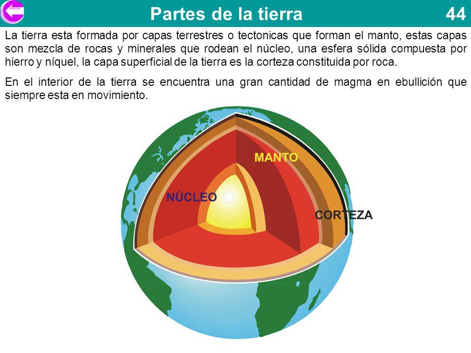 Partes de la tierra 44 La tierra esta formada por capas terrestres o tectonicas que forman el manto, estas capas son mezcla de rocas y minerales que r