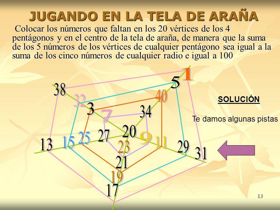 13 Colocar los números que faltan en los 20 vértices de los 4 pentágonos y en el centro de la tela de araña, de manera que la suma de los 5 números de