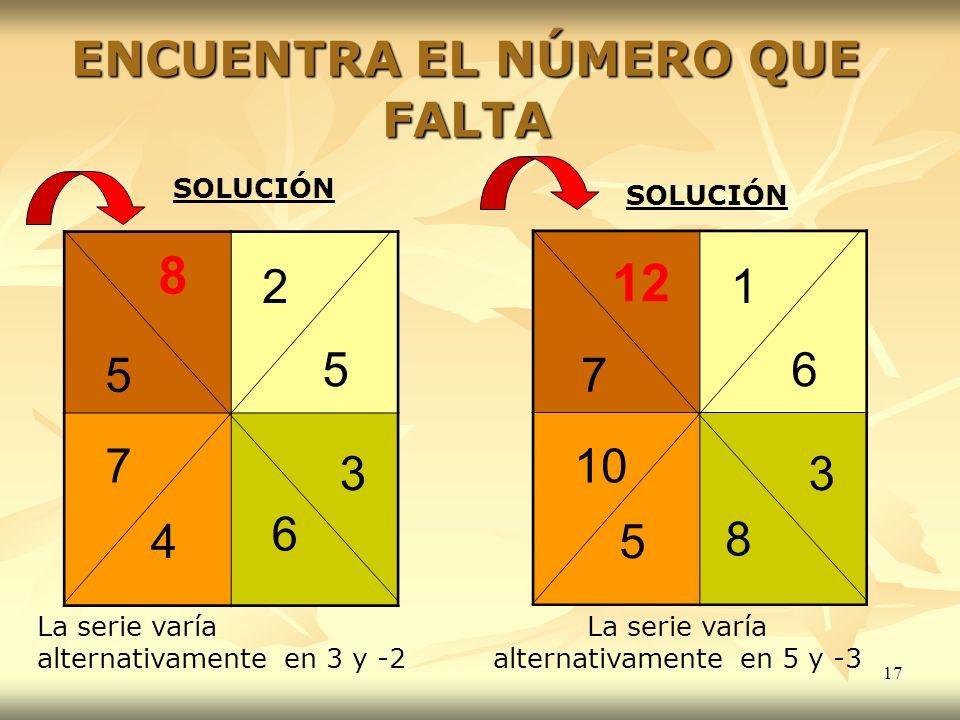 17 ENCUENTRA EL NÚMERO QUE FALTA 2 5 4 7 3 5 6 1 6 5 10 3 7 8 SOLUCIÓN La serie varía alternativamente en 3 y -2 8 12 La serie varía alternativamente