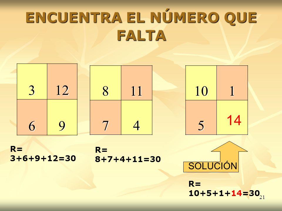 21 ENCUENTRA EL NÚMERO QUE FALTA 312 69 811741015 SOLUCIÓN R= 3+6+9+12=30 R= 8+7+4+11=30 R= 10+5+1+14=30 14