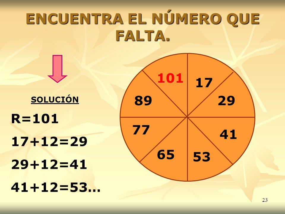23 ENCUENTRA EL NÚMERO QUE FALTA. 17 29 41 53 65 77 89 SOLUCIÓN R=101 17+12=29 29+12=41 41+12=53… 101