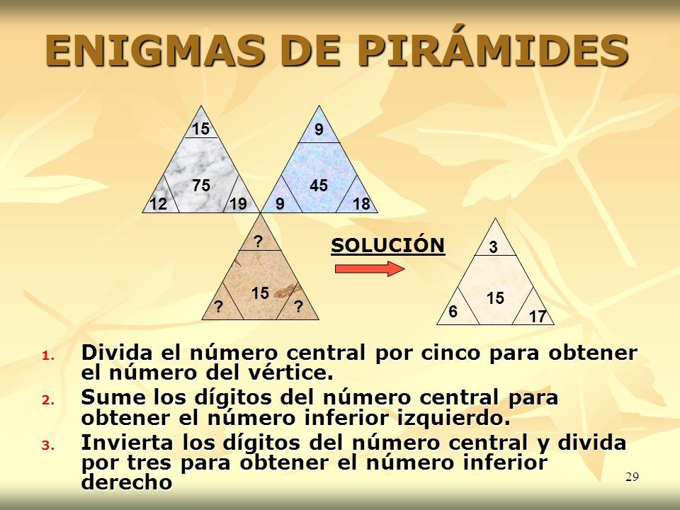 29 ENIGMAS DE PIRÁMIDES 1. Divida el número central por cinco para obtener el número del vértice. 2. Sume los dígitos del número central para obtener