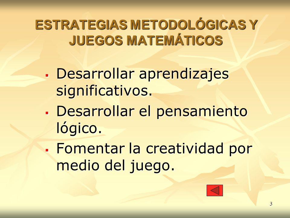 3 ESTRATEGIAS METODOLÓGICAS Y JUEGOS MATEMÁTICOS Desarrollar aprendizajes significativos. Desarrollar aprendizajes significativos. Desarrollar el pens