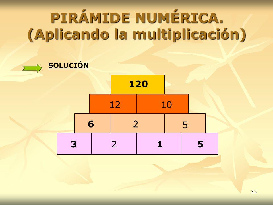 PIRÁMIDE NUMÉRICA. (Aplicando la multiplicación) 2 6 5 2 315 1210 120 SOLUCIÓN