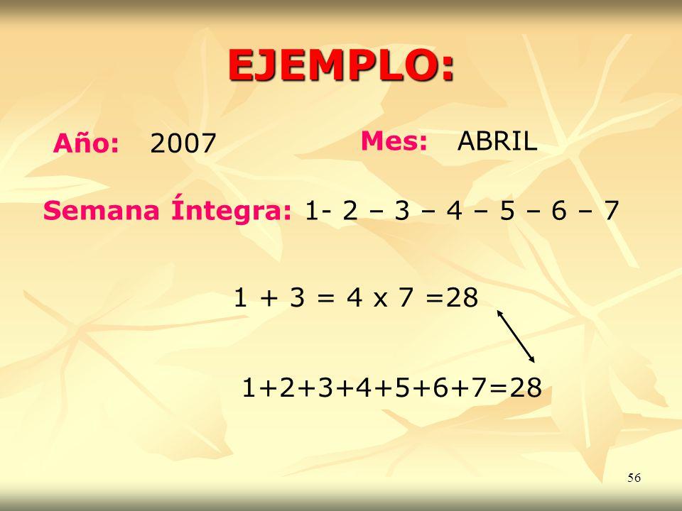 56 EJEMPLO: Año: 2007 Mes: ABRIL Semana Íntegra: 1- 2 – 3 – 4 – 5 – 6 – 7 1 + 3 = 4 x 7 =28 1+2+3+4+5+6+7=28