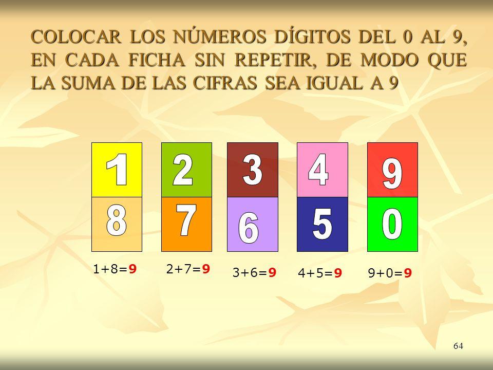 64 COLOCAR LOS NÚMEROS DÍGITOS DEL 0 AL 9, EN CADA FICHA SIN REPETIR, DE MODO QUE LA SUMA DE LAS CIFRAS SEA IGUAL A 9 1+8=92+7=9 3+6=9 4+5=99+0=9