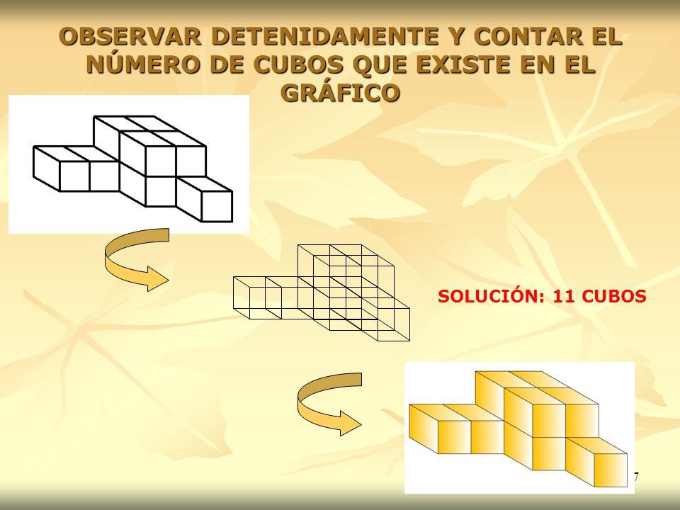 67 OBSERVAR DETENIDAMENTE Y CONTAR EL NÚMERO DE CUBOS QUE EXISTE EN EL GRÁFICO SOLUCIÓN: 11 CUBOS