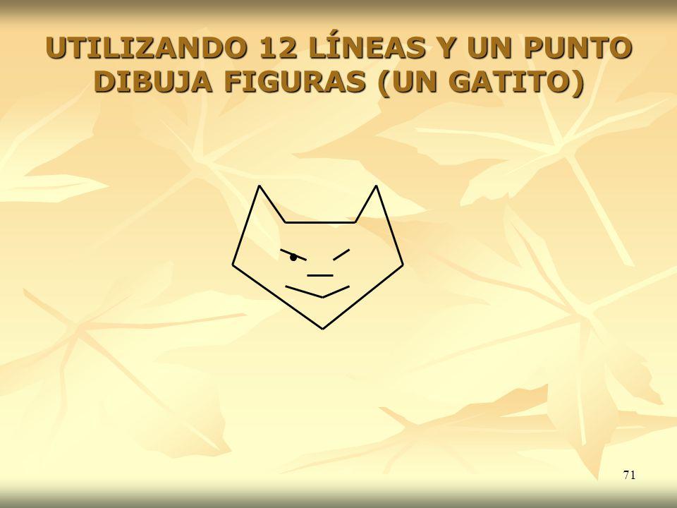 71 UTILIZANDO 12 LÍNEAS Y UN PUNTO DIBUJA FIGURAS (UN GATITO)