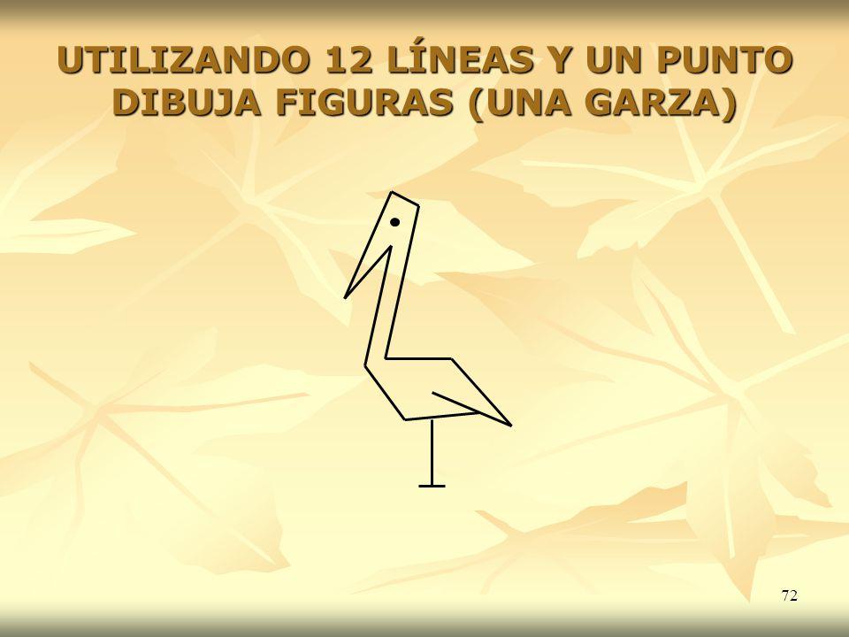 72 UTILIZANDO 12 LÍNEAS Y UN PUNTO DIBUJA FIGURAS (UNA GARZA)